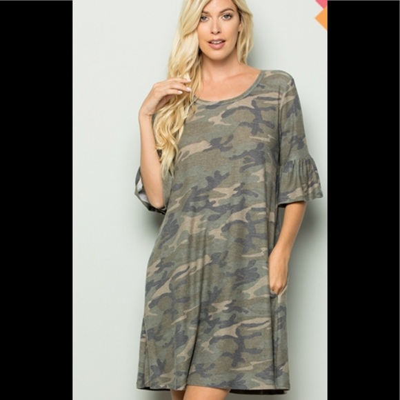 Plus size camo dress with ruffle sleeves Boutique